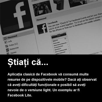 Facebook Lite pentru o mai bună autonomie a dispozitivelor mobile. Resurse pentru programatori începători. Notificare cu blitz pentru SMS-uri și apeluri telefonice